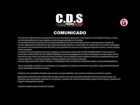 Mensaje del Cartel de Sinaloa al pueblo de Culiacan